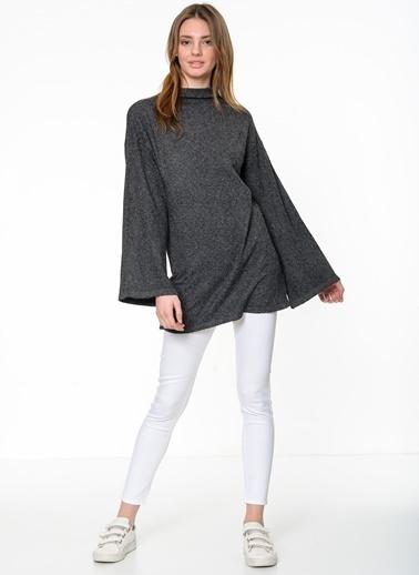 Vero Moda Yarasa Kol Boğazlı Uzun Triko Kazak Gri